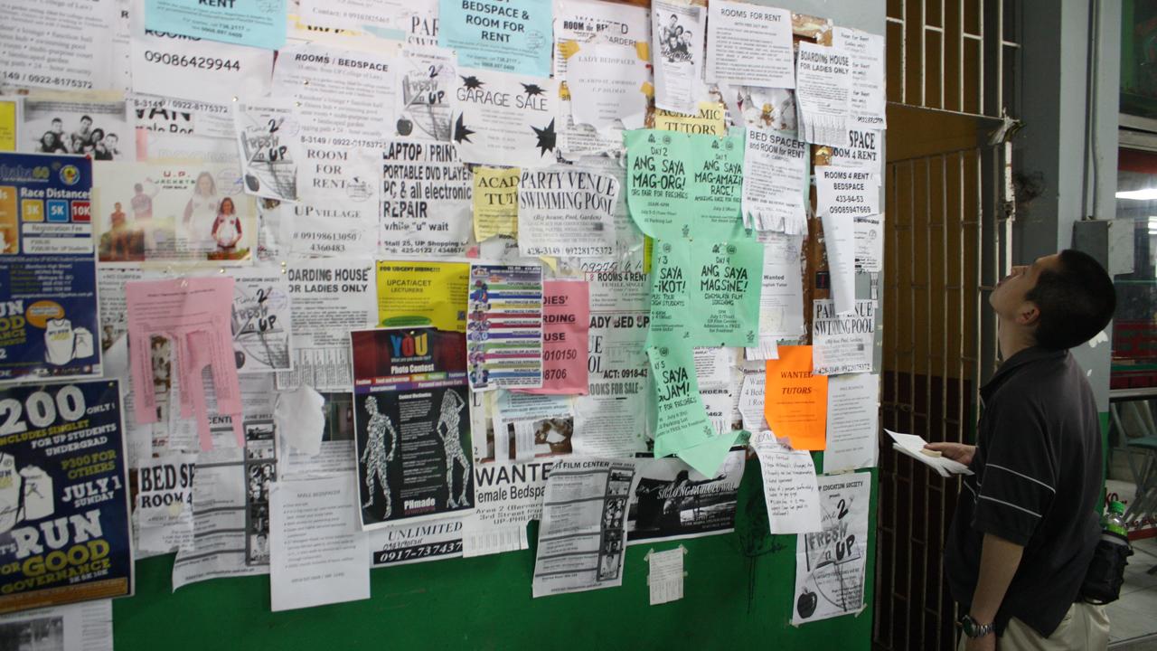 マニラのUPの掲示板で英語の先生を募集マニラのUPの掲示板で英語の先生を募集